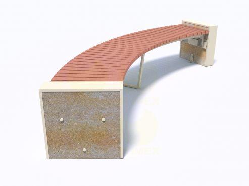 Парковая скамейка С704 с боковинами из декоративного композитного камня