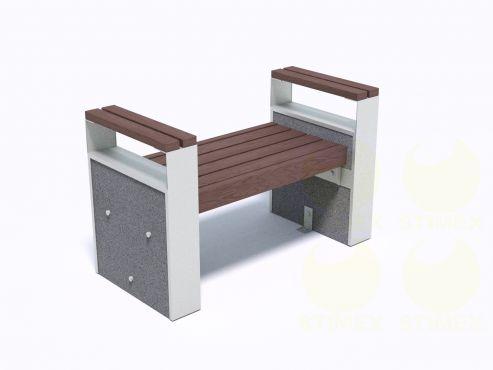 Скамейка парковая с подлокотниками ТБ703 с боковинами из декоративного композитного камня