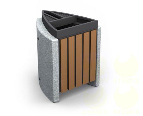 Урна для мусора уличная U10B (У10Б) с бетонными элементами