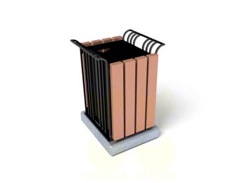 Урна для мусора уличная U12 (У12) с элементами из архитектурного бетона