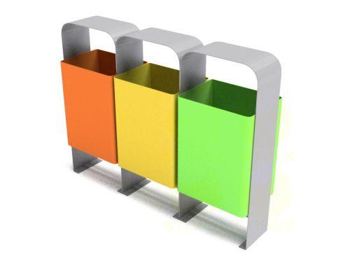 Урна тройная для раздельного сбора мусора U552-trio (У552-трио)